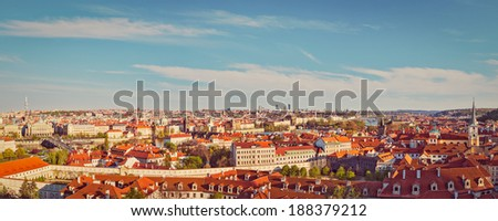 Vintage retro hipster style travel image of panorama view of Prague from Prague Castle. Prague, Czech Republic - stock photo