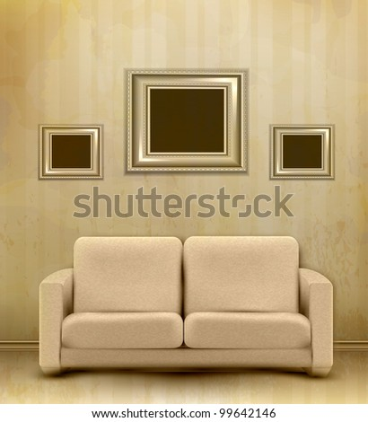 vintage retro interior with sofa and three frames for pictures on the wall - stock photo