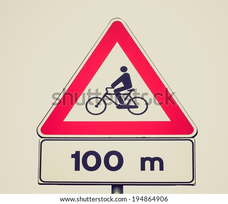 Vintage retro looking Bicycle sign - stock photo