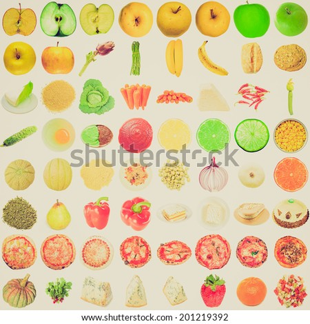 Vintage retro looking Food collage set of many vegetarian items isolated over white including fruits vegetables and pizza