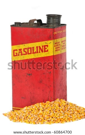 Vintage retro metallic fuel container gasoline or corn ethanol - stock photo