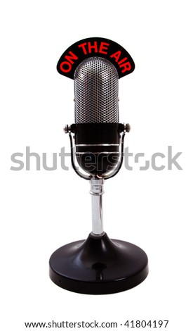 Vintage retro 'On the Air' Microphone isolated over white background. - stock photo