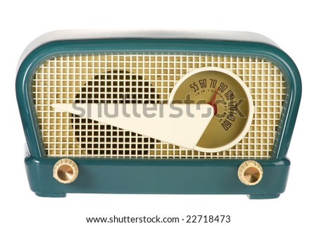 Vintage retro radio isolated on white background - stock photo