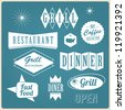 Vintage retro restaurant signs, badges and labels - stock vector