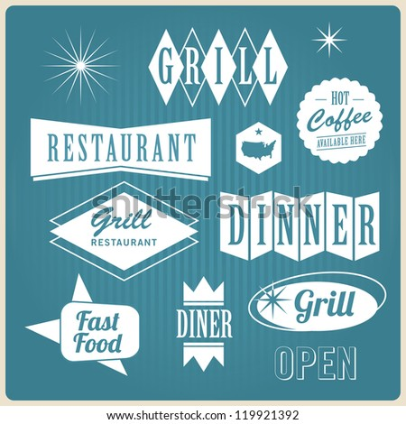 Vintage retro restaurant signs, badges and labels - stock photo