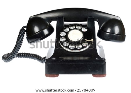 Vintage retro rotary telephone on white background - stock photo