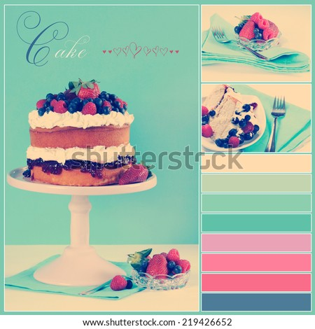 Vintage retro style afternoon tea sponge cake with whipped cream and fresh berries collage of three images, sample text and color swatches. - stock photo