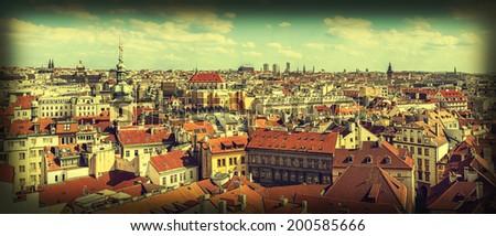 Vintage retro style panoramic image of Prague, Czech Republic  - stock photo