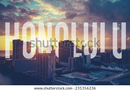 Vintage Retro Style Photo Of The Honolulu, Hawaii With Text - stock photo