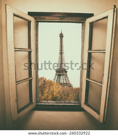 vintage retro style. Window to Paris. Architecture of Paris .France. Europe - stock photo