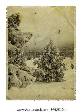 Vintage retro style winter christmas photo, isolated - stock photo
