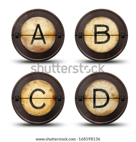 Vintage reversible typewriter letters ABCD on white  - stock photo