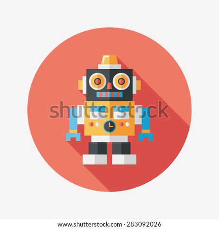 vintage robot flat icon with long shadow