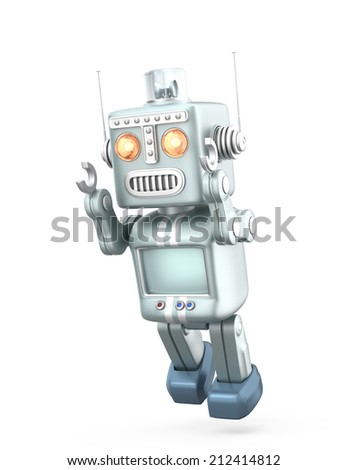 Vintage robot trying to fly.  Isolated on white background - stock photo