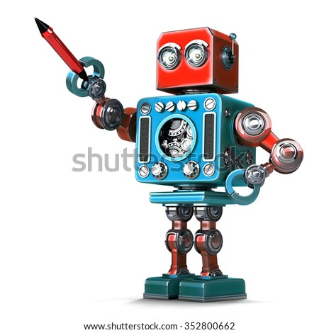 Vintage robot with pen. Isolated on white background. Contains clipping path - stock photo