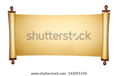 Vintage roll of parchment, isolated on white background