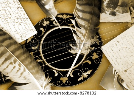Vintage romance with guitar in detail - stock photo
