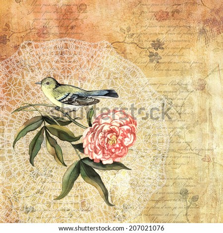 Vintage romantic background with bird. Watercolor. Hand painting. Illustration for greeting cards, invitations, and other printing projects. - stock photo