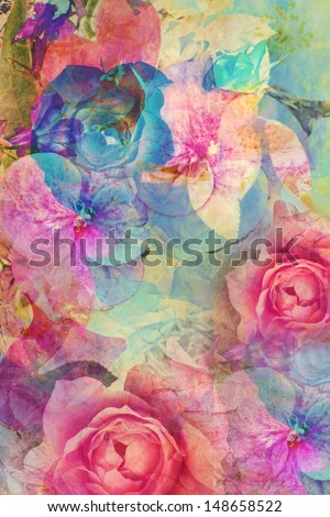 Vintage romantic background with roses and hydrangeas - stock photo