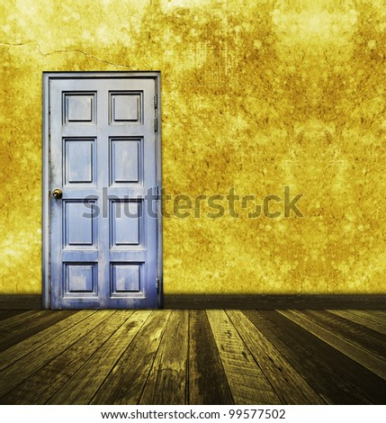 vintage room colorful door and wall with wooden floor