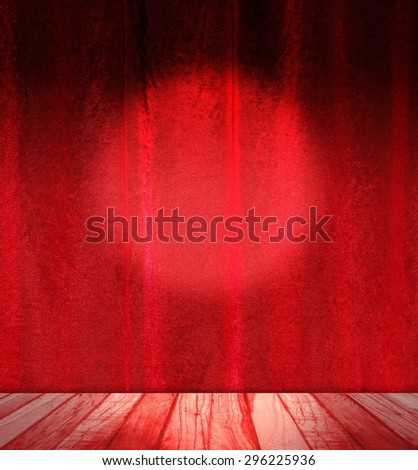 Vintage room interior with red tent in silk - stock photo