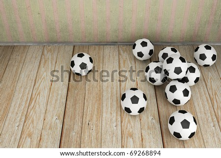 Vintage room with a lot of soccer balls - stock photo