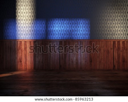 vintage room with blue silk wallpaper and old wood paneling - stock photo