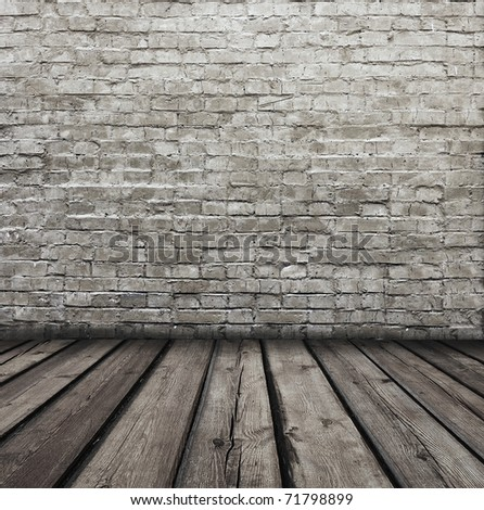 vintage room with brick wall - stock photo