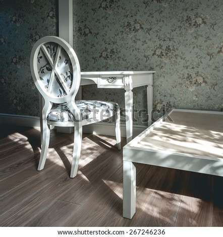 Vintage room with chair, table and floral wallpaper. White and light turquoise colors - stock photo