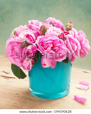 Vintage roses vase bouquet pink flowers stock photo royalty free vintage roses in vase bouquet of pink flowers in retro style mightylinksfo