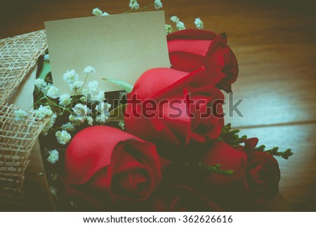 vintage Roses  on wooden board, Valentines Day background, wedding day, happy birth day, love u