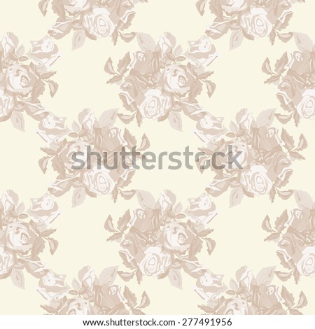 Vintage Roses Seamless Pattern - stock photo