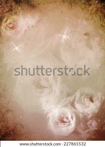 Vintage roses to greetings card or for a love message - stock photo
