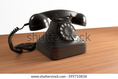 Vintage rotary dial phone on wooden table. 3d rendering - stock photo