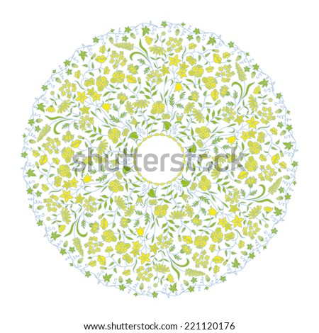 Vintage round floral pattern for print, embroidery. Raster version. - stock photo