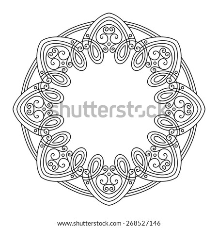 Vintage Round Frame. Hand Drawn Border in Trendy Linear Style. Wedding Decor - stock photo