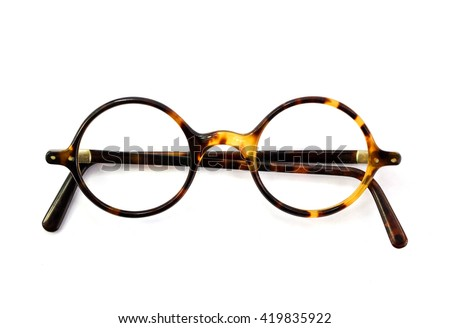 Vintage round glasses isolated on white background - stock photo