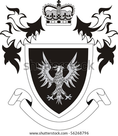 Vintage royal shield with eagle - illustration - stock photo