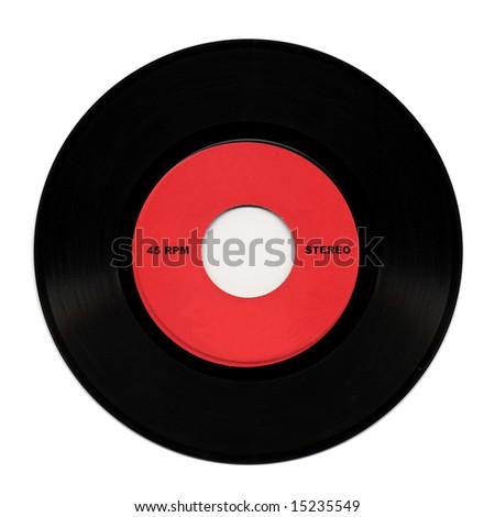 Vintage 45 RPM stereo vinyl record - stock photo