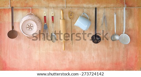vintage rustic cooking tools, cooking concept, free copy space  - stock photo