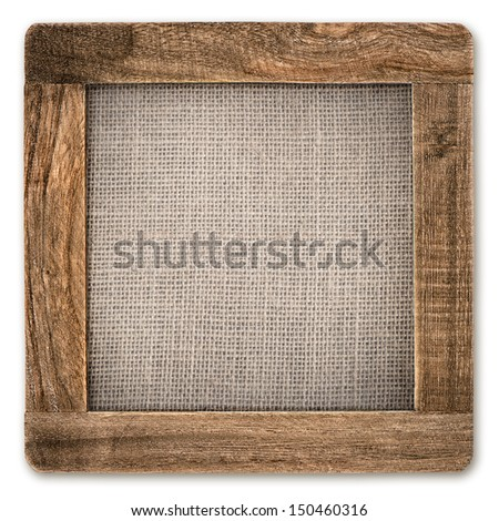 vintage rustic wooden frame with canvas isolated on white background - stock photo