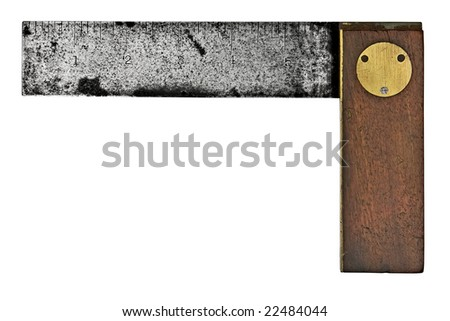vintage rusty carpenters square isolated over white background - stock photo