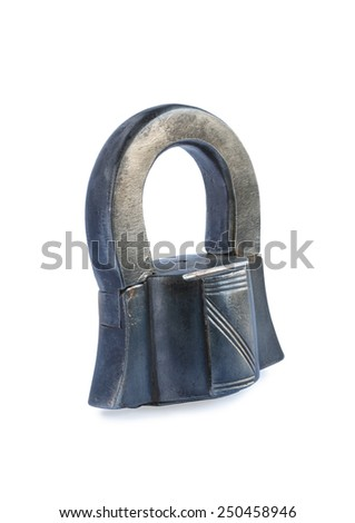 vintage rusty lock on white  background - stock photo
