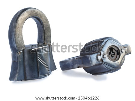 vintage rusty lock with an individual number and in different foreshortenings on white  background - stock photo