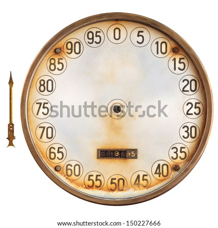 Vintage rusty meter of a petrol pump with separate needle indicator isolated on a white background - stock photo
