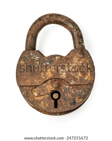 Vintage rusty padlock locked isolated on white background with clipping path - stock photo