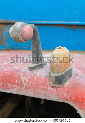 Vintage rusty red truck car with a old headlight, soft focus - stock photo