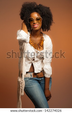 Retro 70s Fashion Black Woman Sunglasses Stock Photo ...