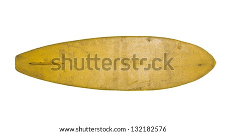 Vintage 70's Foam Surfboard isolated on white - stock photo