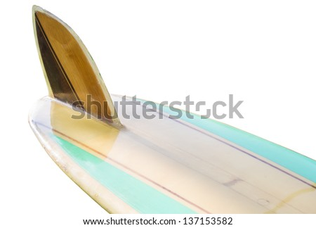 Vintage 60's Surfboard fin isolated on white - stock photo